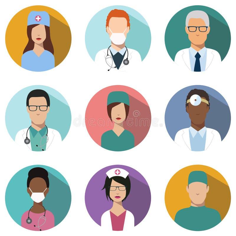 Doktors- och sjuksköterskaavataruppsättning medicinska symboler stock illustrationer