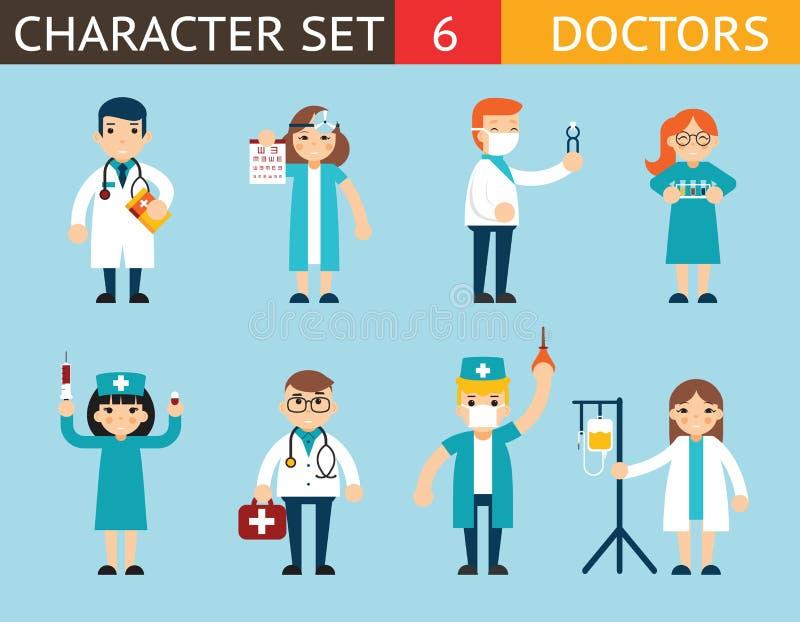 Doktors- och sjuksköterskaCharacters Madical Icon uppsättning royaltyfri illustrationer