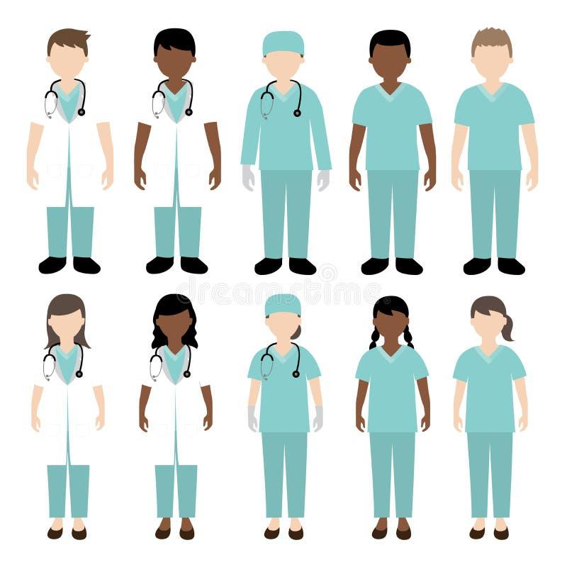 Doktors- och sjuksköterskaillustration stock illustrationer