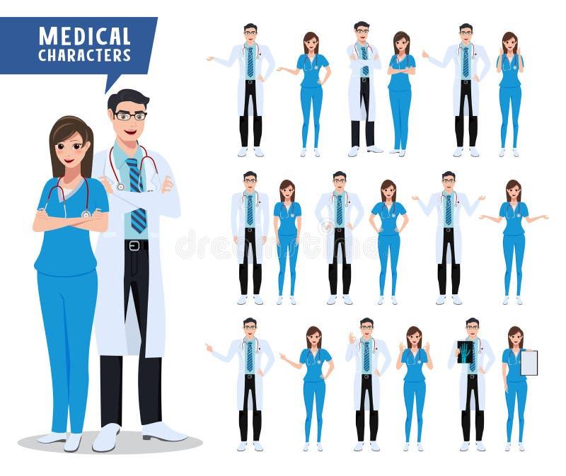 Doktors- och sjuksköterskavektortecken - uppsättning Läkarundersökning- och hälsovårdtecken med olikt poserar stock illustrationer