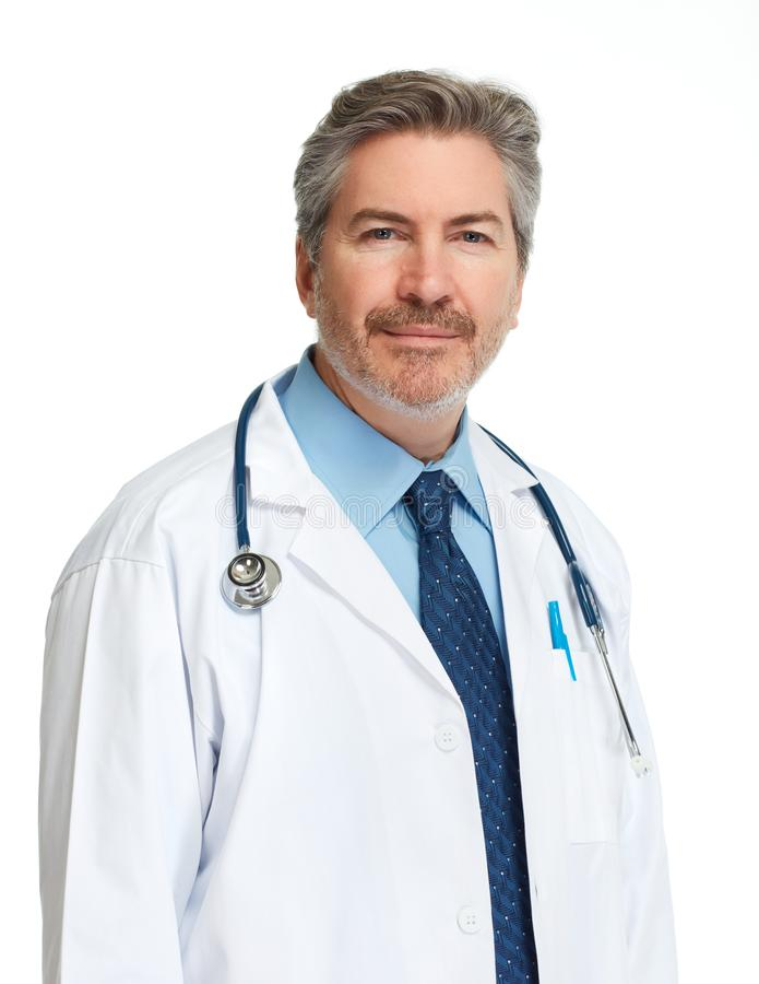 Doktorsapotekare på vit bakgrund royaltyfri bild
