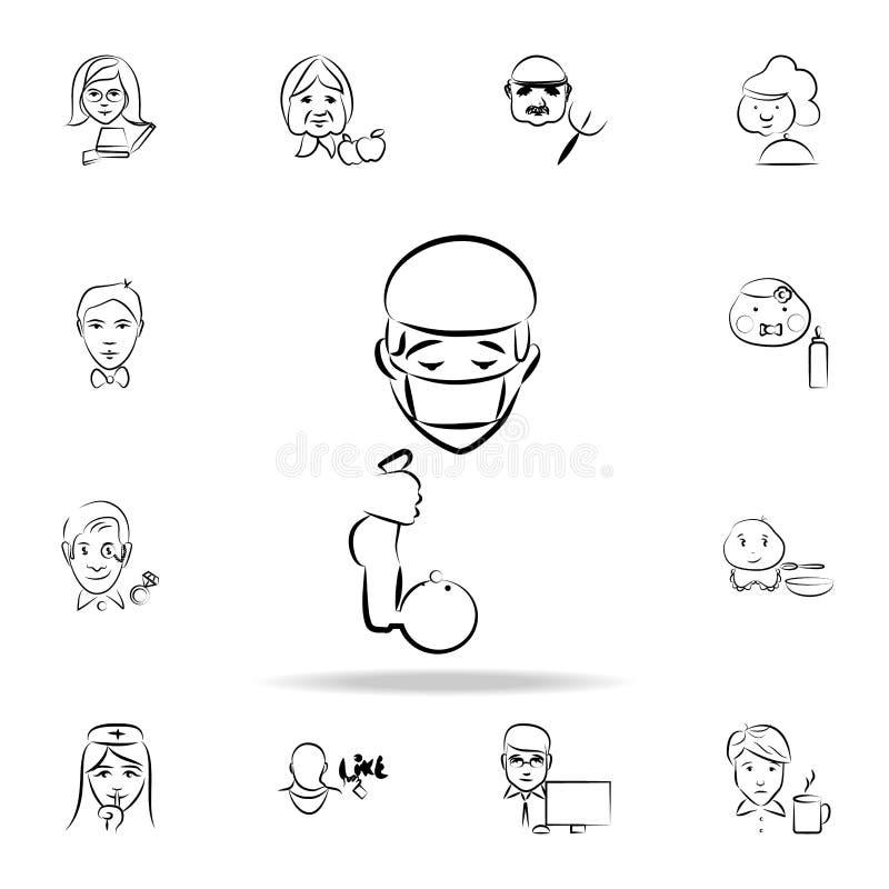 doktorsavataren skissar stilsymbolen Detaljerad uppsättning av yrket i att skissa stilsymboler Högvärdig grafisk design En av sam stock illustrationer