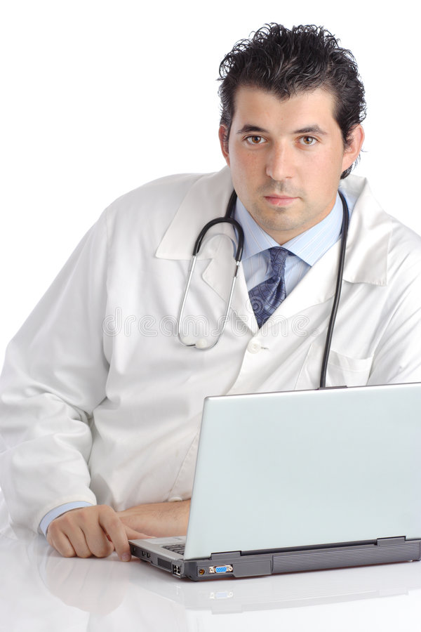 doktorsbärbar dator royaltyfri bild