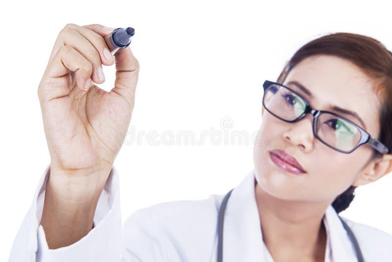Doktorschreiben auf dem copyspace getrennt im Weiß lizenzfreies stockbild
