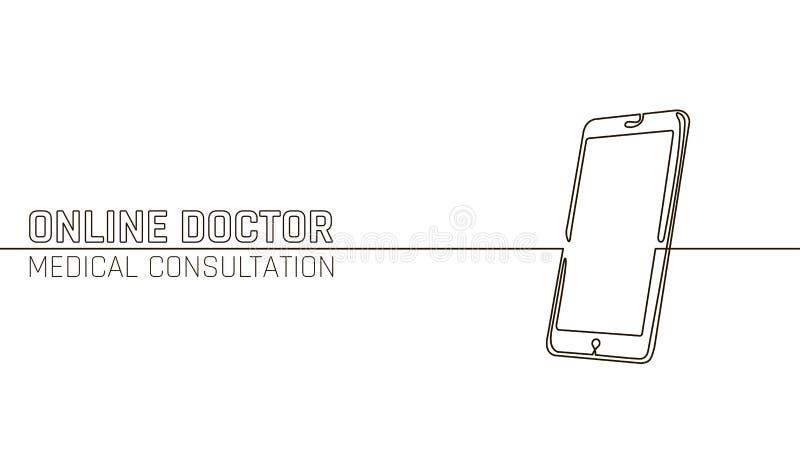 Doktorscy online medyczni app wiszącej ozdoby zastosowania Cyfrowej opieki zdrowotnej medycyny diagnozy pojęcia sztandar Ludzki s ilustracji