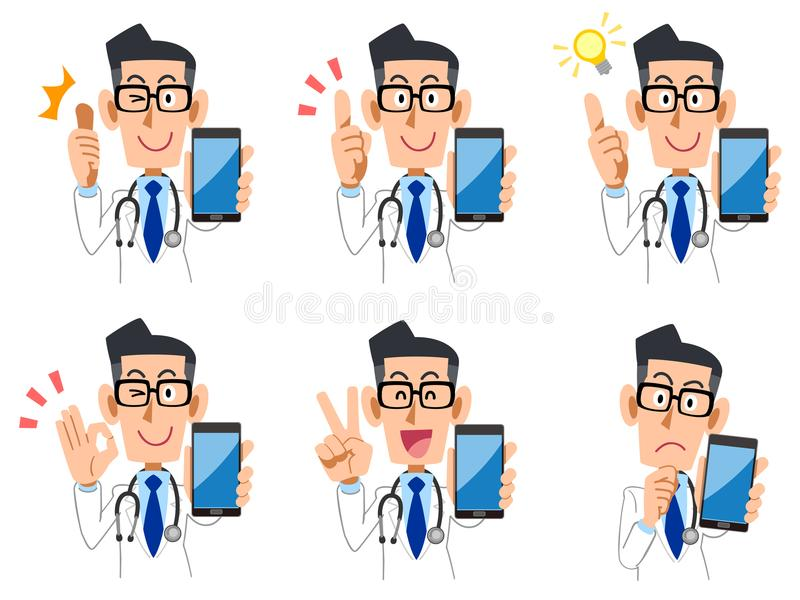 Doktorscy Smartphone wyrażenia, gesty Ustawiający i ilustracja wektor