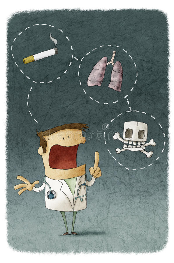 Doktorscy wyjaśnia ryzyko dymienie ilustracji