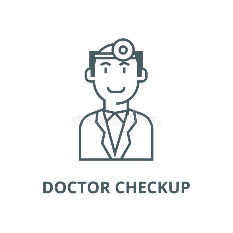 Doktorska checkup linii ikona, wektor Doktorski checkup konturu znak, pojęcie symbol, płaska ilustracja royalty ilustracja