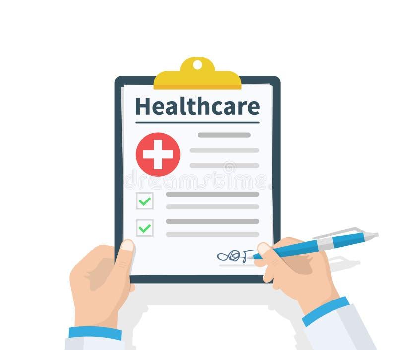 Doktorska chwyta schowka opieka zdrowotna i bierze notatki na nim raport medyczny Lista kontrolna Płaski projekt, wektorowa ilust ilustracja wektor
