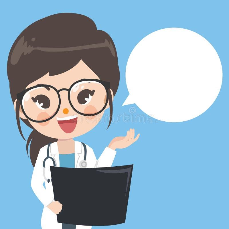 Doktorska dziewczyna radzi jest przestrzeniami dla słów ilustracji