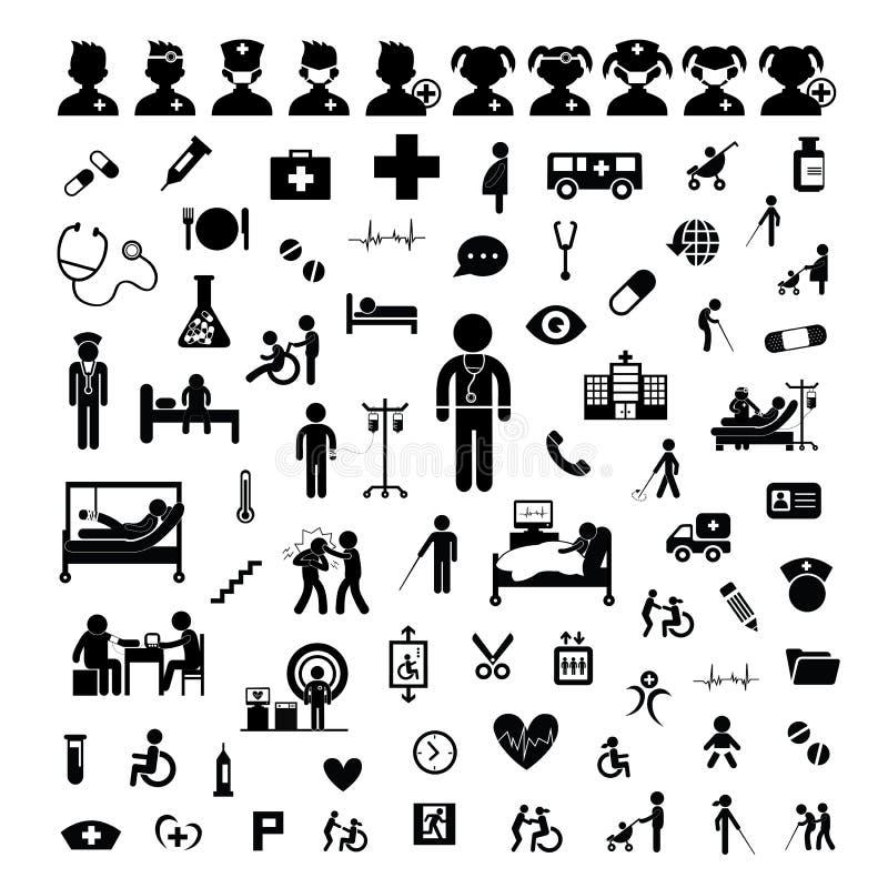 Doktorska ikona i szpital royalty ilustracja
