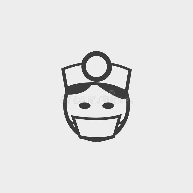 Doktorska ikona w płaskim projekcie w czarnym kolorze Wektorowa ilustracja EPS10 ilustracja wektor