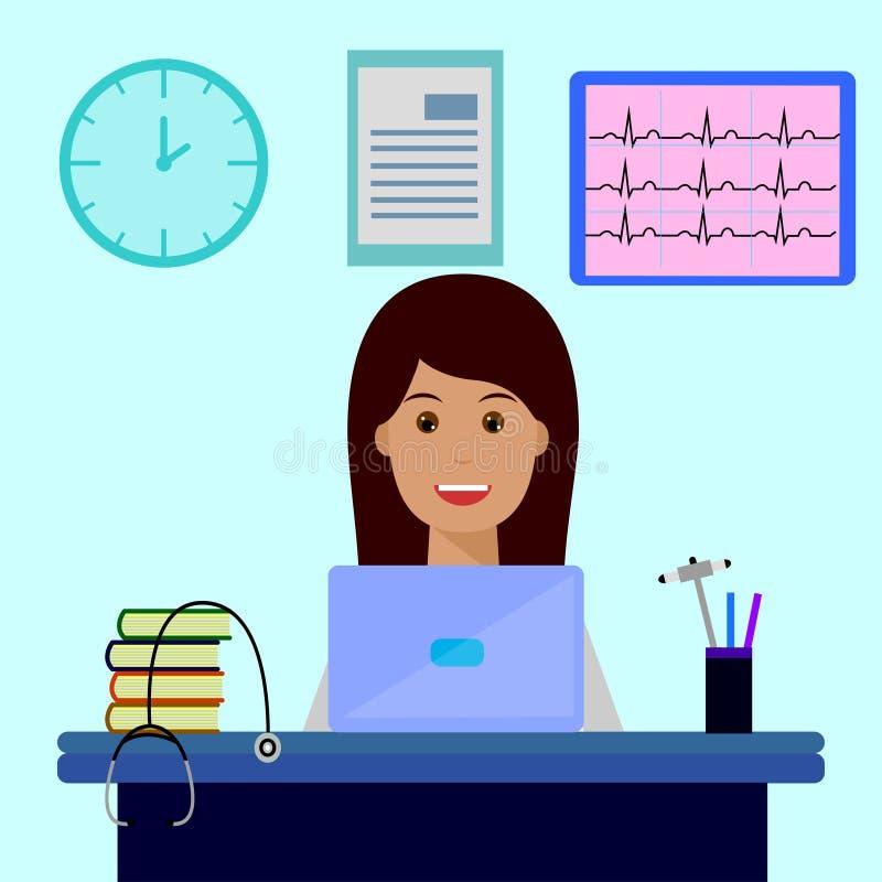 Doktorska kobieta, miejsce pracy, laptop ilustracja wektor