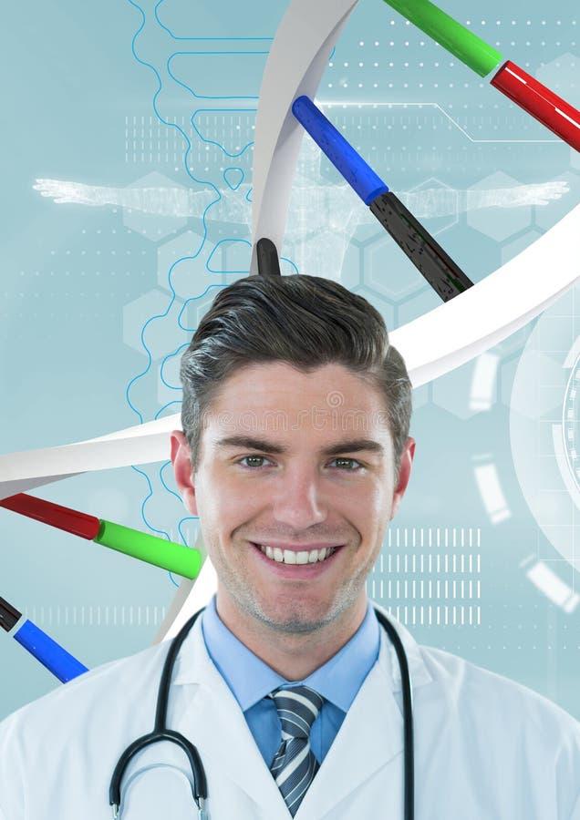 Doktorska mężczyzna pozycja z 3D DNA pasemkiem ilustracja wektor