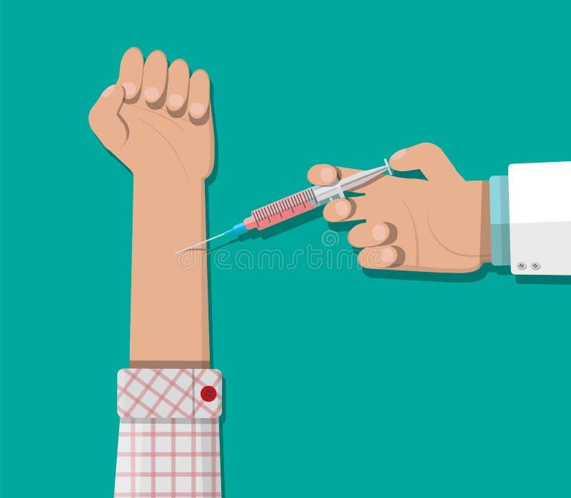 Doktorska ręka z strzykawką, szczepienie pacjent ilustracji