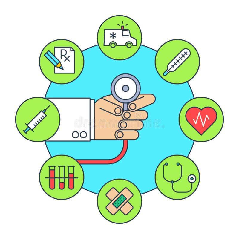 Doktorska ` s ręka z stetoskopem Płaska kreskowa ilustracja ilustracja wektor