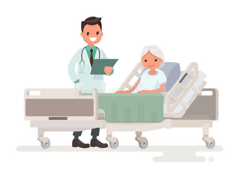 Doktorska ` s wizyta oddział cierpliwy starszy kobiety lying on the beach w a royalty ilustracja