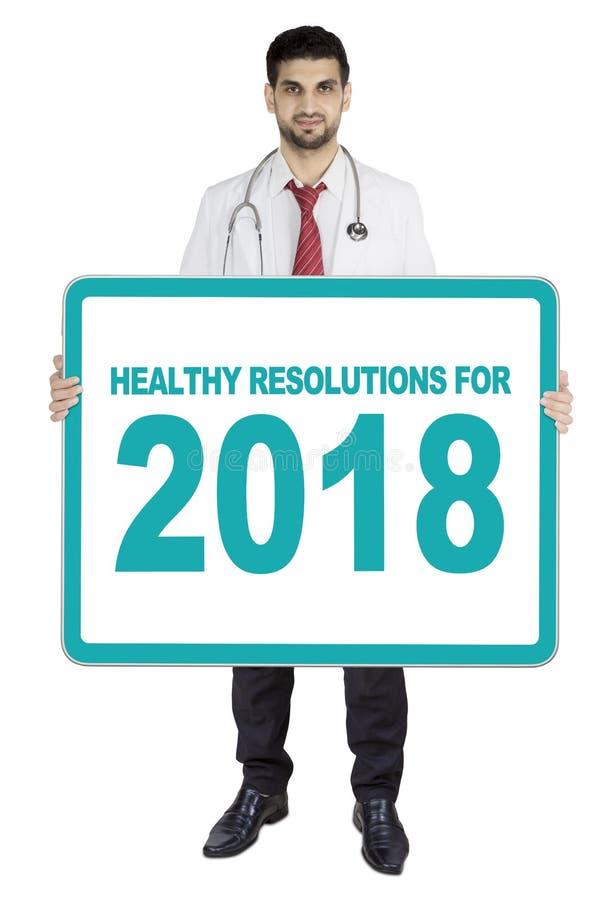 Doktorska seans deska z zdrowymi postanowieniami dla 2018 obraz stock