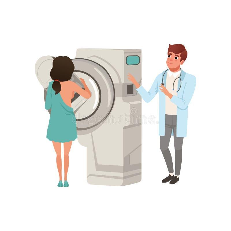 Doktorska sprawdza żeńska cierpliwa pierś z mammografiego, opieki zdrowotnej i medycyny pojęcia wektorową ilustracją na bielu, royalty ilustracja