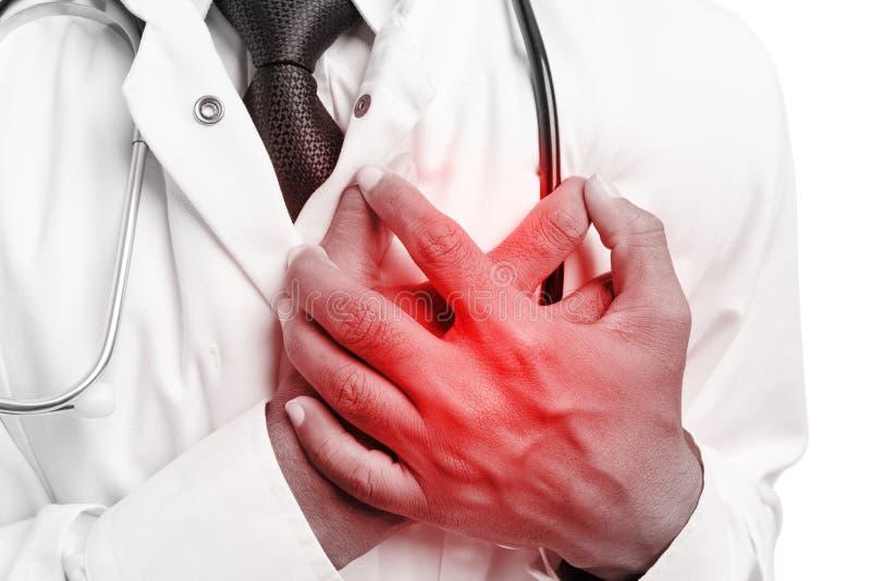 Doktorska wzruszająca klatka piersiowa jako kierowy problemowy pojęcie zdjęcia royalty free