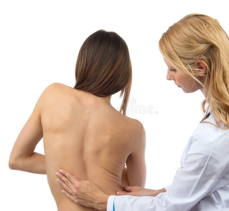 Doktorski badawczy cierpliwy kręgosłup skoliozy deformaci backache zdjęcie stock