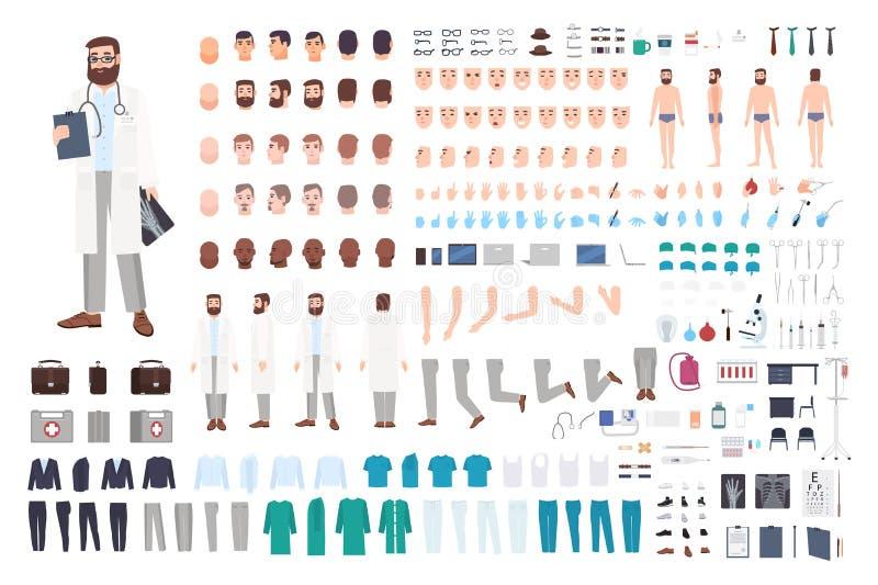 Doktorski charakteru konstruktor Samiec tworzenia doktorski set Różne postury, fryzura, twarz, nogi, ręki, akcesoria royalty ilustracja
