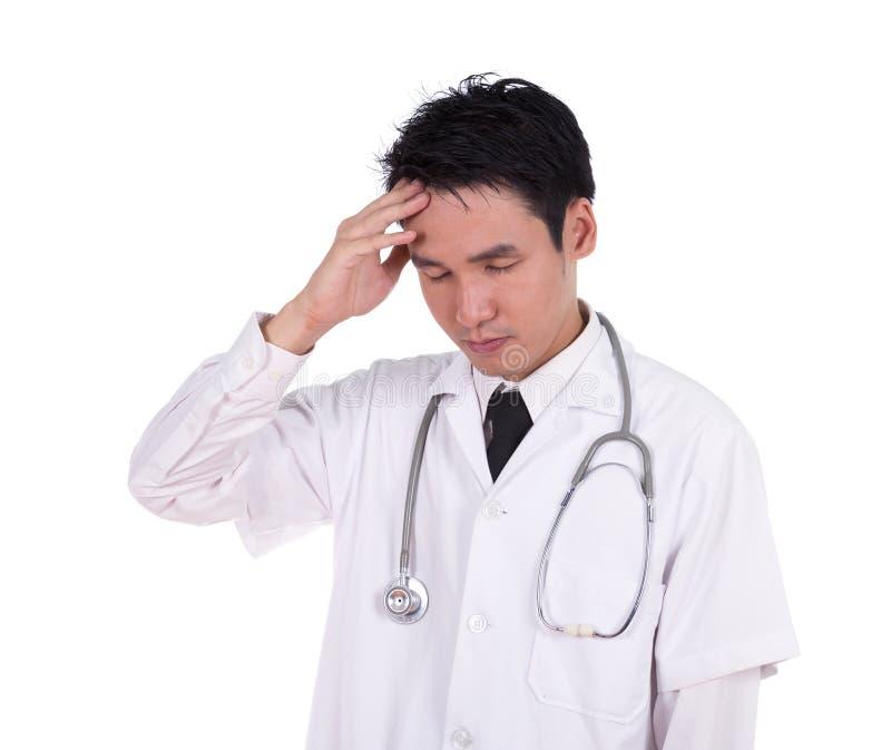 Doktorski chwyt głowa z ręką, zmartwioną, napięcie, migrena zdjęcie stock