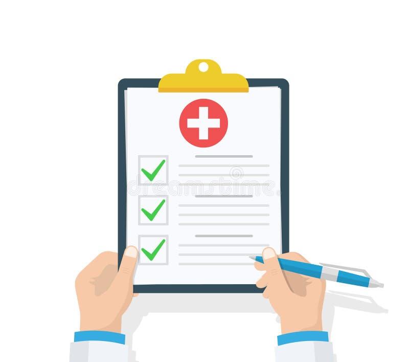 Doktorski chwyta schowek i bierze notatki na nim raport medyczny Lista kontrolna Płaski projekt, wektorowa ilustracja na tle ilustracji