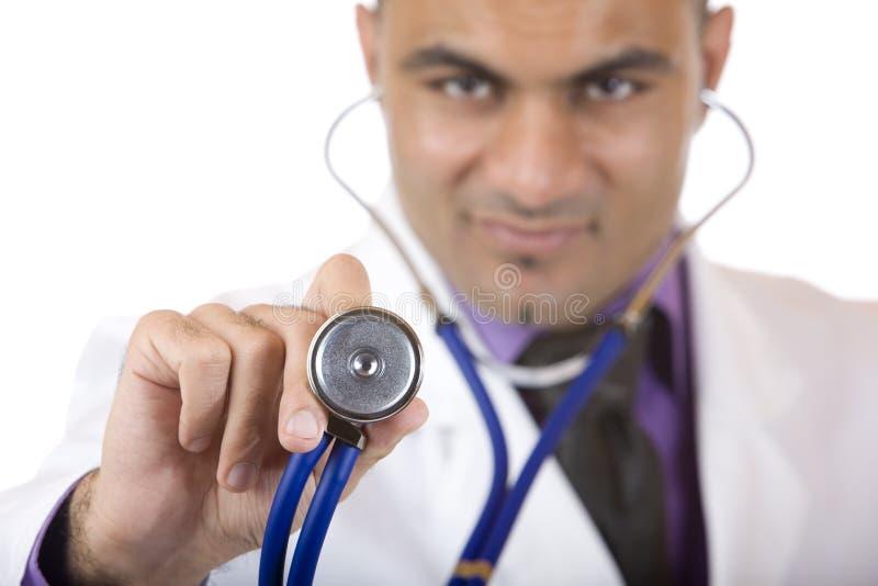 doktorski egzamin robi medycznemu stetoskopowi zdjęcia stock
