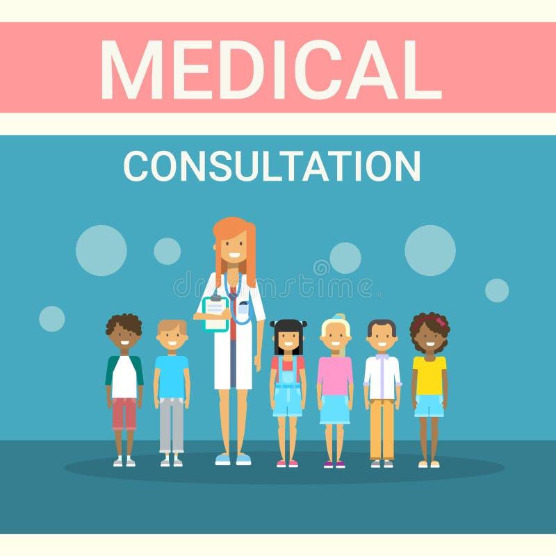 Doktorski Egzamininuje pacjent grupy Medycznej konsultaci opieki zdrowotnej klinik szpitala usługa medycyny sztandar ilustracji