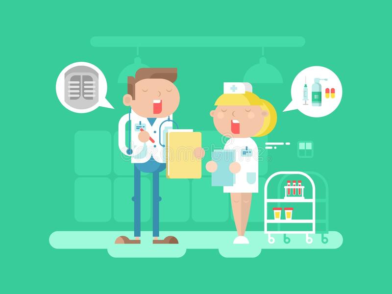 Doktorski i pielęgniarka charakter royalty ilustracja