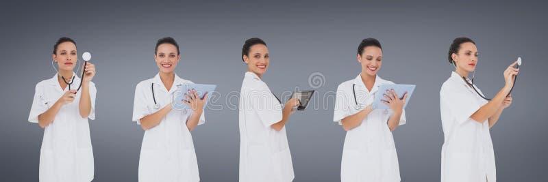 Doktorski kobiety mienia przyrządów kolaż przeciw błękitnemu tłu obrazy stock