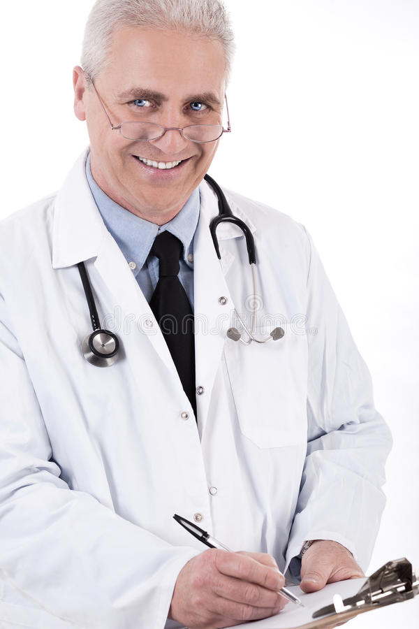 doktorski medyczny recepturowy uśmiechnięty writing obraz stock