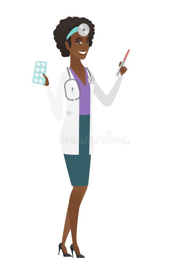 Doktorski mienie termometr i talerz pigułki ilustracji