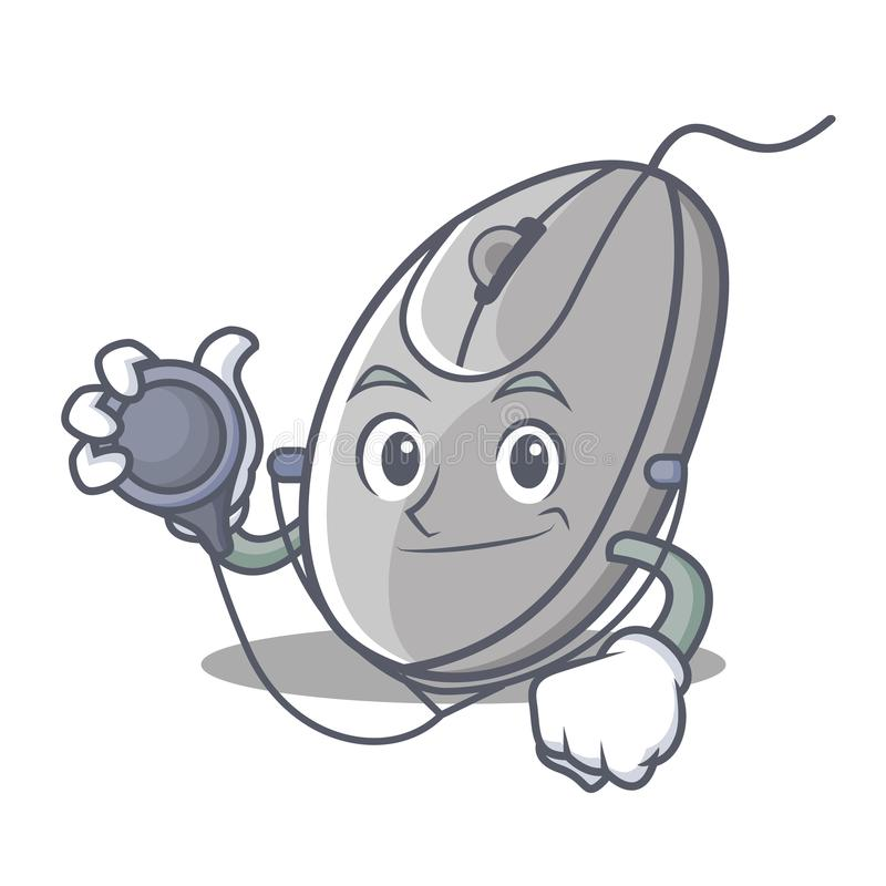 Doktorski mysz charakteru kreskówki styl ilustracji