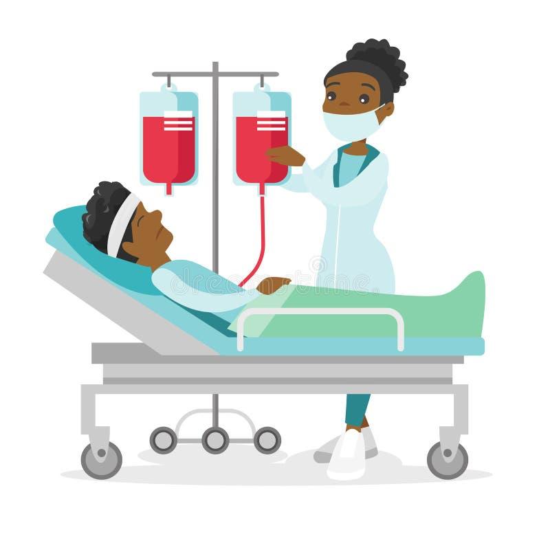 Doktorski odwiedza cierpliwy lying on the beach w łóżku szpitalnym royalty ilustracja