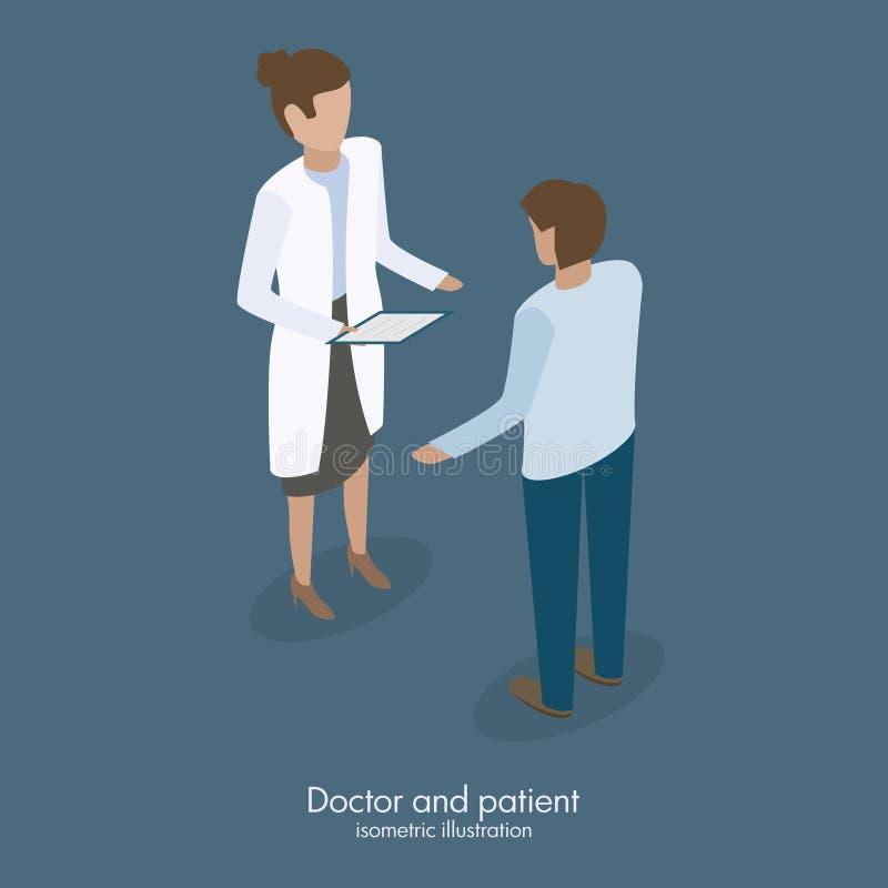 Doktorski opowiadać z pacjentem royalty ilustracja