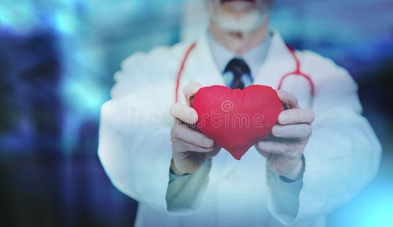 Doktorski pokazuje czerwony serce; wieloskładnikowy ujawnienie obrazy stock