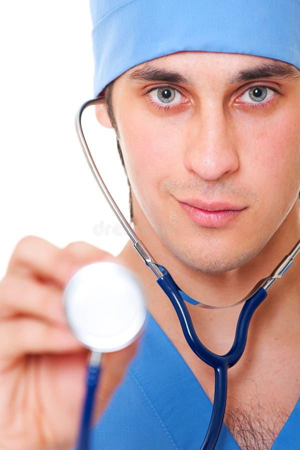doktorski portreta zamknięty doktorski stetoskop zdjęcie stock