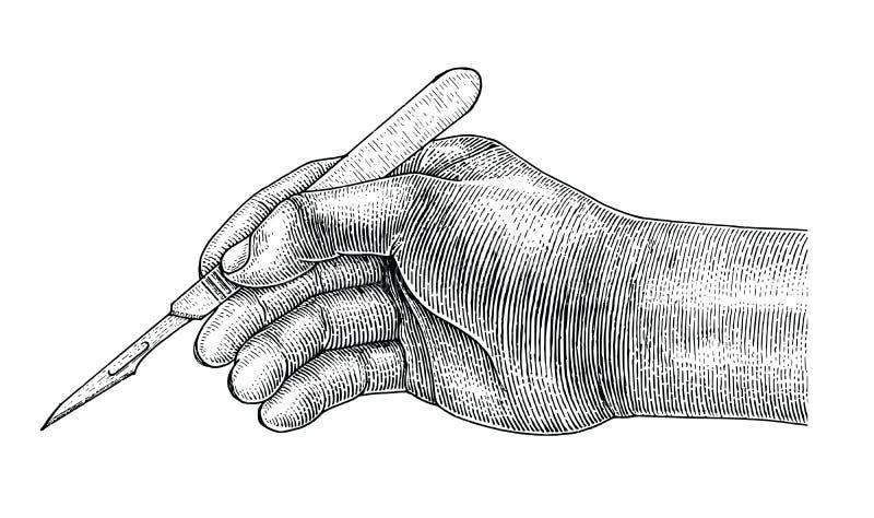 Doktorski ręki mienia skalpel, Chirurgicznie rysunkowy rocznika styl na wh royalty ilustracja