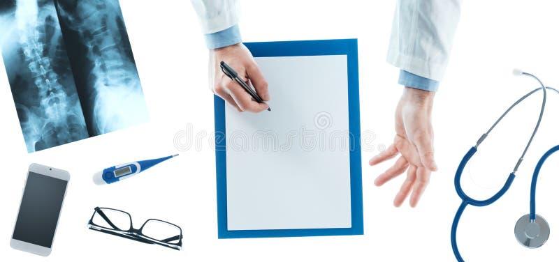 doktorski recepturowy writing zdjęcia stock