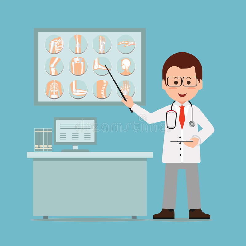 Doktorski sprawdzać i wskazywać przy łamanymi kościami promieniowanie rentgenowskie film ilustracji