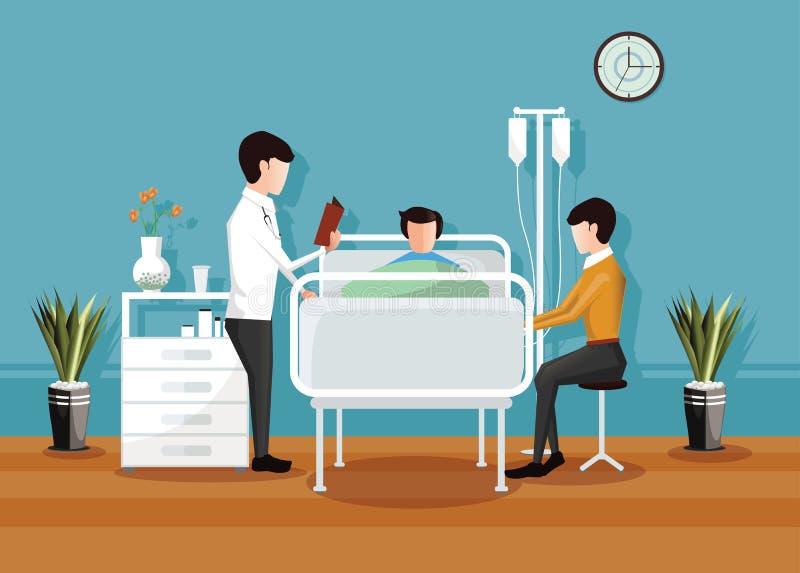 Doktorski sprawdzać pacjenta w szpitalu, sala szpitalnej wnętrze ilustracji