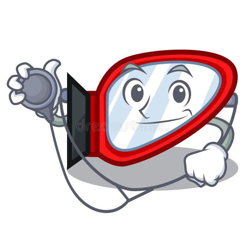 Doktorski strony lustro odizolowywający z charakterem ilustracja wektor