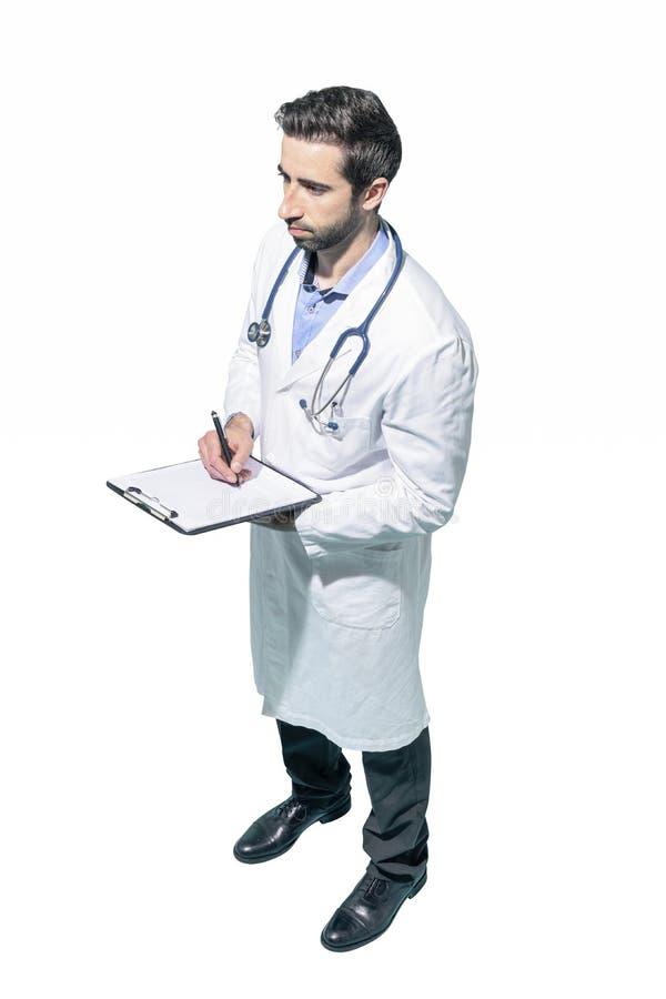 Doktorskie pisze książeczki zdrowie na schowku zdjęcia royalty free