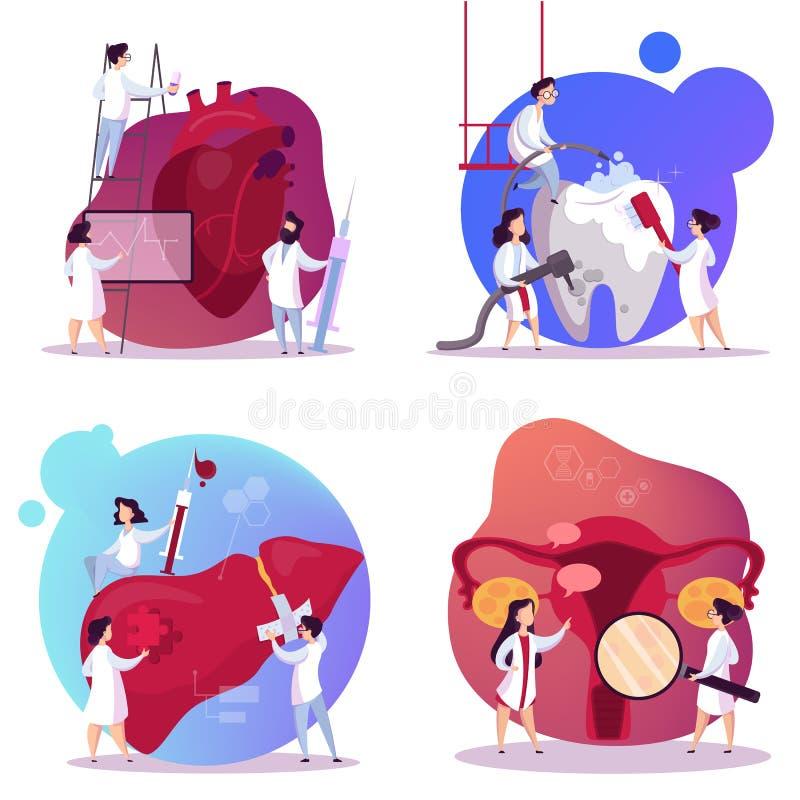 Doktorskiego i wewnętrznego organu set Ludzka anatomia ilustracji