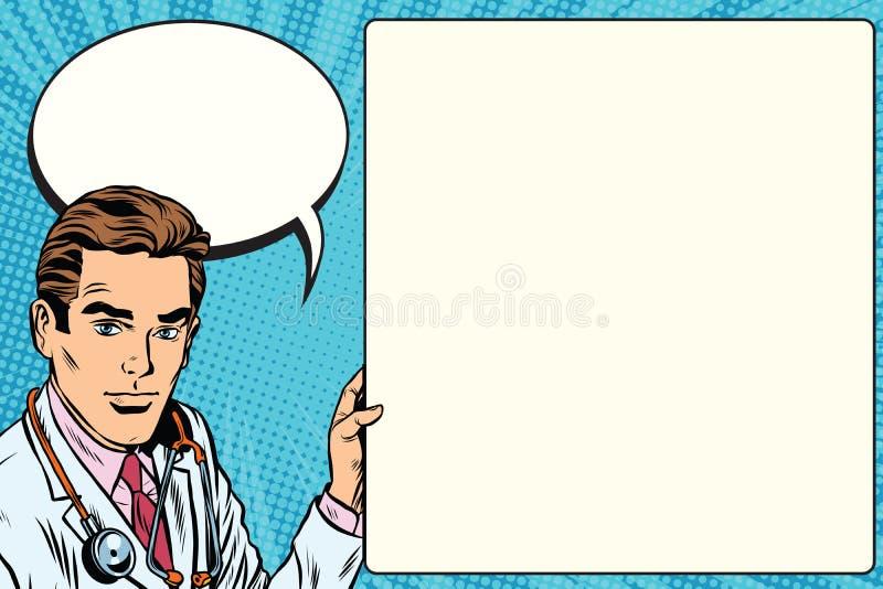 Doktorskiego zawiadomienia medycyny plakatowi zdrowie ilustracji