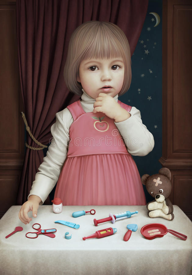 doktorskiej dziewczyny mały bawić się royalty ilustracja