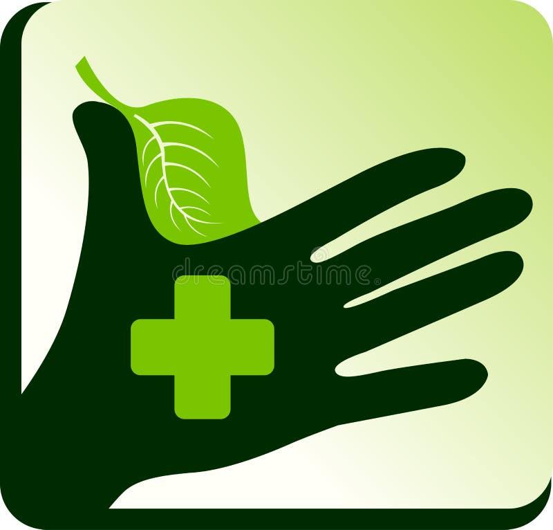 doktorskiej ręki ziołowy logo ilustracji