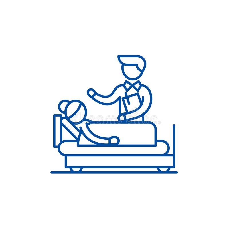 Doktorskonsultationlinje symbolsbegrepp Symbol för vektor för doktorskonsultation plant, tecken, översiktsillustration stock illustrationer